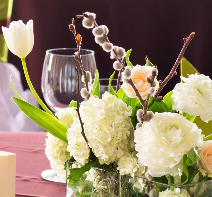flowers on the table, table set for wedding